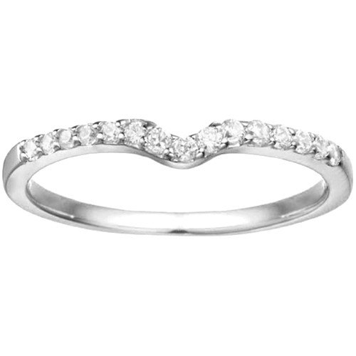 10 Karat White Gold Notched Contour Solitaire Enhancer Wedding